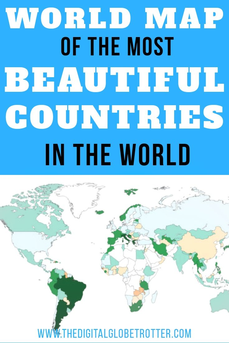 Beautiful Map Of The World.World Map Of The Most Beautiful Countries Through The Eyes Of A Man