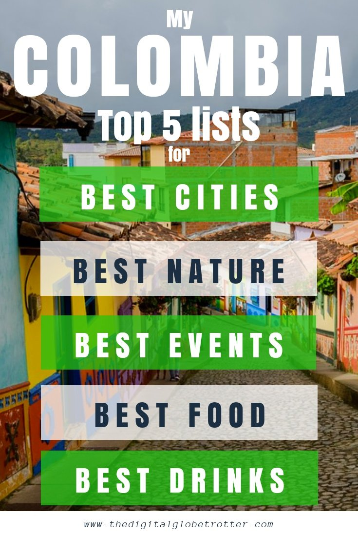Travel guide to Colombia - My Colombia Top 5 Lists for Best Activities, Food, Things to do, People, cities - #visitcolombia #colombiatrips #travelcolombia #colombiaflights #colombiahotels #colombiahostels #colombiaairbnb #colombiatips #colombiabeaches #colombiamaps #colombiablog #colombiaguide #colombiatours #colombiabooking #colombiainfo #colombiatripadvisor #colombiavisa #blog