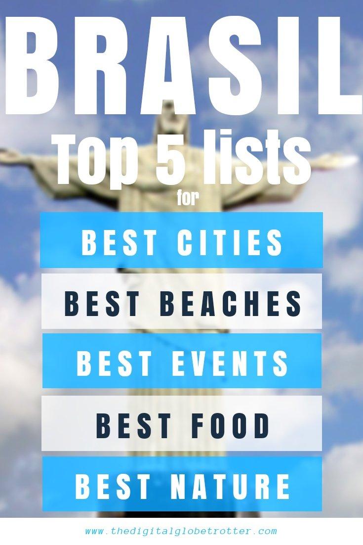 "Finding the best of the best to do in Brazil - My Brazil ""Top 5 lists"" for Best Cities, Festivals, Friendliness, Nature and Beaches - #visitbrazil #braziltrips #travelbrazil #brazilflights #brazilhotels #brazilhostels #brazilairbnb #braziltips #brazilbeaches #brazilmaps #brazilblog #brazilguide #braziltours #brazilbooking #brazilinfo #braziltripadvisor #brazilvisa #brazilblog"