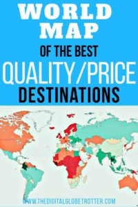 Great information for travelers and digital nomads: World Map of the Best Quality / Price Destinations, Through the Eyes of a Man Who Visited Them All #digitalnomad #cheapaccommodation #travelcheap #budgettravel #budgettraveltips #travel #worldmap #travelworld #worldtravel #cheapflights #traveltips #travelhacks