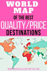 Amazing map! Great information for travelers and digital nomads: World Map of the Best Quality / Price Destinations, Through the Eyes of a Man Who Visited Them All #digitalnomad #cheapaccommodation #travelcheap #budgettravel #budgettraveltips #travel #worldmap #travelworld #worldtravel #